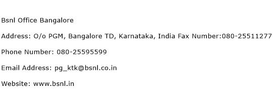 Bsnl Office Bangalore Address Contact Number