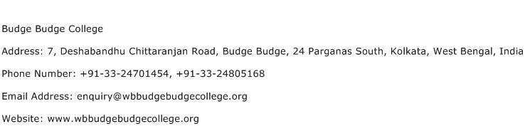 Budge Budge College Address Contact Number
