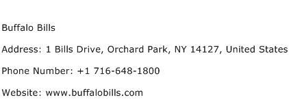 Buffalo Bills Address Contact Number