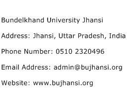 Bundelkhand University Jhansi Address Contact Number