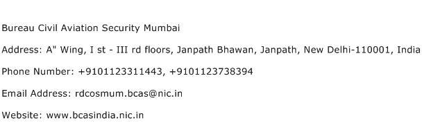 Bureau Civil Aviation Security Mumbai Address Contact Number
