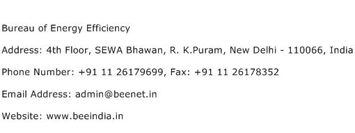 Bureau of Energy Efficiency Address Contact Number