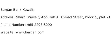 Burgan Bank Kuwait Address Contact Number