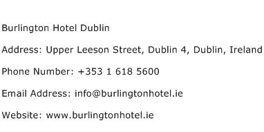 Burlington Hotel Dublin Address Contact Number