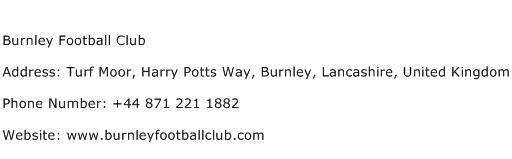 Burnley Football Club Address Contact Number