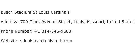 Busch Stadium St Louis Cardinals Address Contact Number