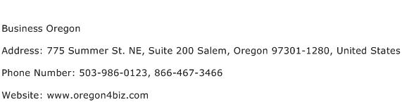 Business Oregon Address Contact Number