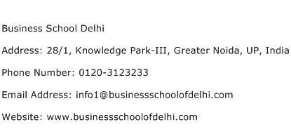 Business School Delhi Address Contact Number