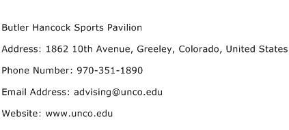 Butler Hancock Sports Pavilion Address Contact Number
