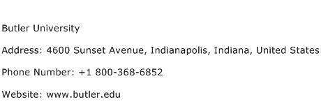Butler University Address Contact Number