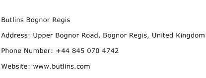 Butlins Bognor Regis Address Contact Number