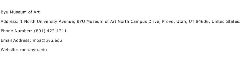 Byu Museum of Art Address Contact Number