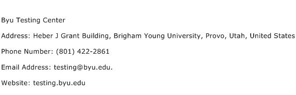 Byu Testing Center Address Contact Number