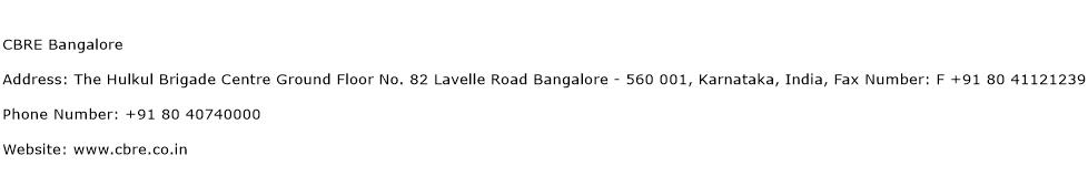 CBRE Bangalore Address Contact Number