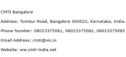 CMTI Bangalore Address Contact Number