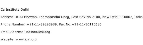 Ca Institute Delhi Address Contact Number
