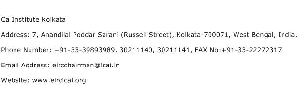 Ca Institute Kolkata Address Contact Number