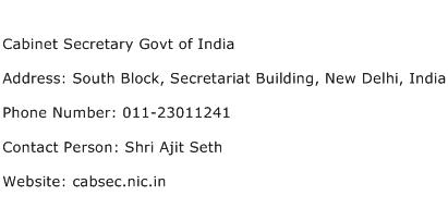Cabinet Secretary Govt of India Address Contact Number