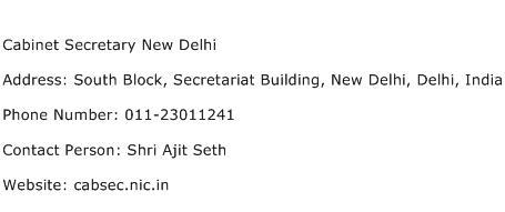 Cabinet Secretary New Delhi Address Contact Number