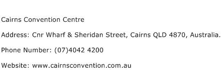 Cairns Convention Centre Address Contact Number