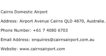 Cairns Domestic Airport Address Contact Number