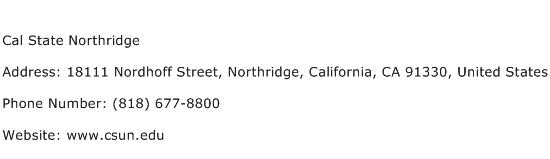 Cal State Northridge Address Contact Number
