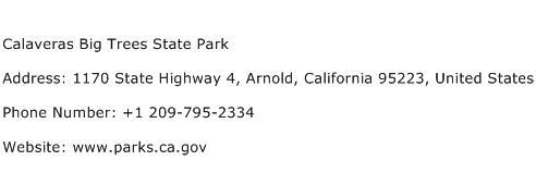 Calaveras Big Trees State Park Address Contact Number