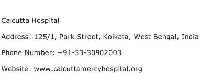 Calcutta Hospital Address Contact Number