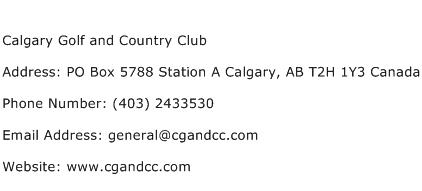 Calgary Golf and Country Club Address Contact Number
