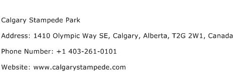 Calgary Stampede Park Address Contact Number
