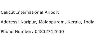 Calicut International Airport Address Contact Number