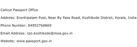 Calicut Passport Office Address Contact Number