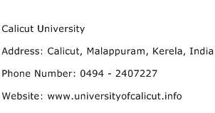 Calicut University Address Contact Number
