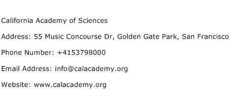 California Academy of Sciences Address Contact Number