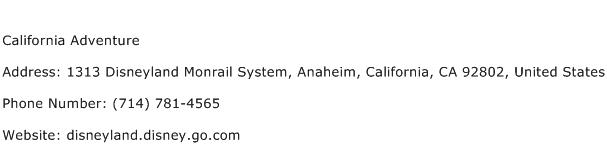 California Adventure Address Contact Number