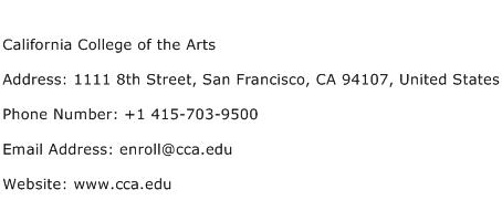 California College of the Arts Address Contact Number