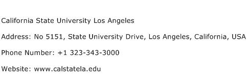 California State University Los Angeles Address Contact Number