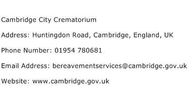 Cambridge City Crematorium Address Contact Number