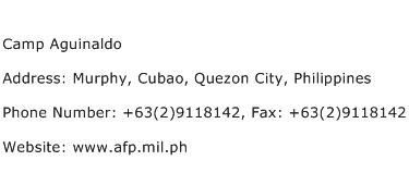 Camp Aguinaldo Address Contact Number