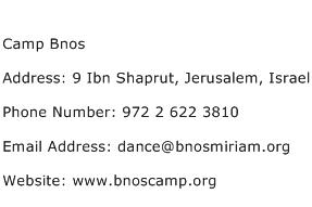 Camp Bnos Address Contact Number