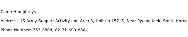 Camp Humphreys Address Contact Number