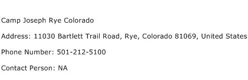Camp Joseph Rye Colorado Address Contact Number