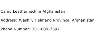 Camp Leatherneck in Afghanistan Address Contact Number
