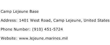 Camp Lejeune Base Address Contact Number