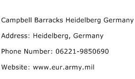 Campbell Barracks Heidelberg Germany Address Contact Number
