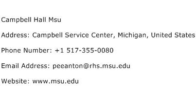 Campbell Hall Msu Address Contact Number
