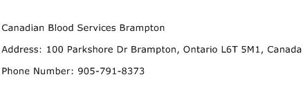 Canadian Blood Services Brampton Address Contact Number