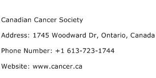Canadian Cancer Society Address Contact Number