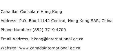 Canadian Consulate Hong Kong Address Contact Number
