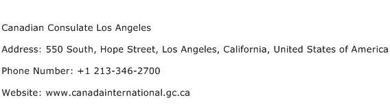 Canadian Consulate Los Angeles Address Contact Number